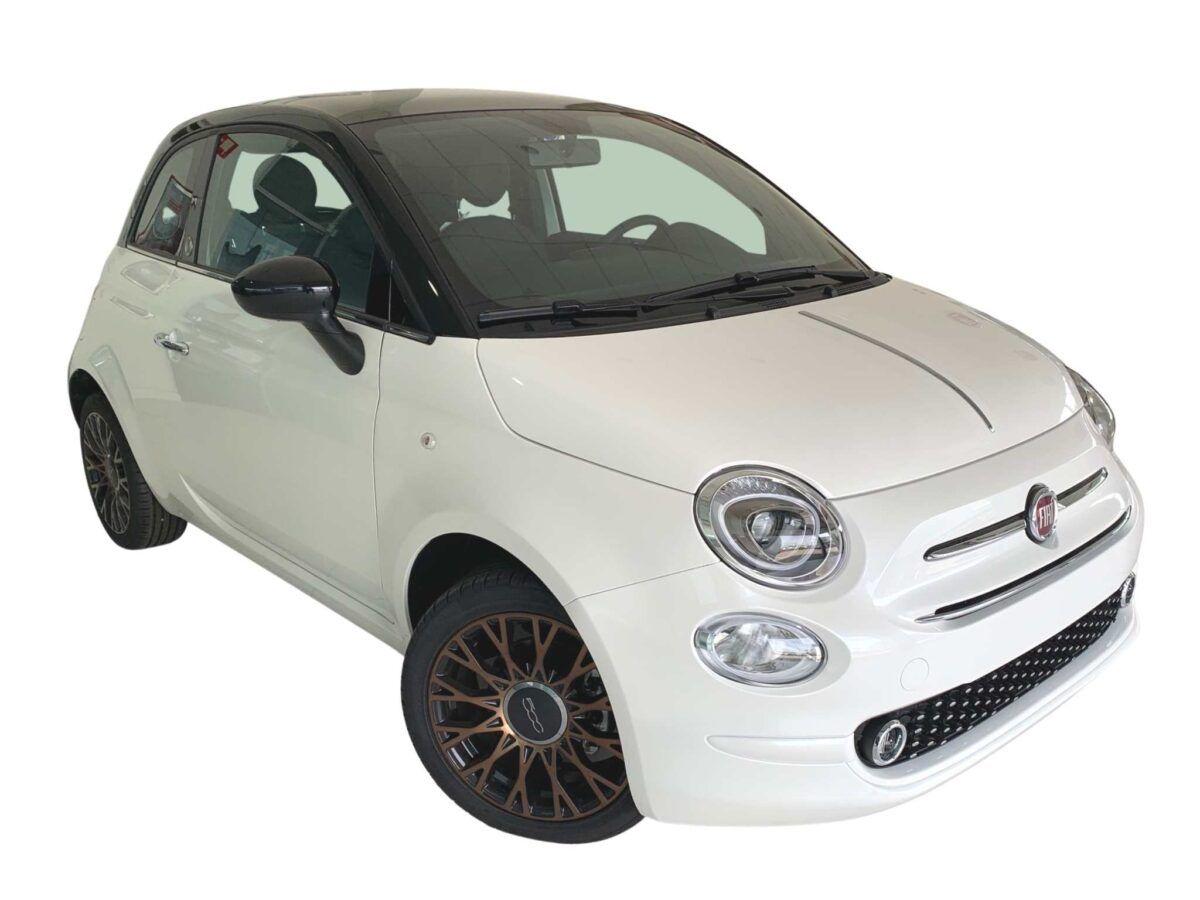 Fiat 500 híbrido GLP con motor 1.2 69 cv edición especial 120 aniversario en color blanco con techo negro de km0