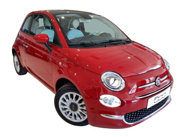 Fiat 500 híbrido GLp y gasolina, con motor 1.2 de 69cv con acabado Lounge en rojo de km0
